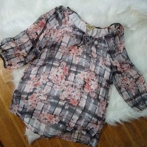 One World women's sheer layer shirt Small